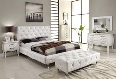 Bedrooms, Extraordinary Gray Wall Paint Bedroom Design Inspiration With Stylish White Leather Bed Frame On Combined Soft White Bed Sheet And Nice White Leather Headboard Also Gorgeous White Wood Vanity Table Plus Wonderful Wall Mirror: The Best and Fresh Bedroom Designs Inspiration