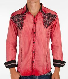 Roar Commend Shirt - Men's Shirts in Red Urban Cowboy, Chinese Collar, Mexican Fashion, Hot Pink Dresses, Mr Style, Daily Dress, Going Out Outfits, Rock Revival Jeans, School Fashion