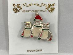 New, Christmas Bears Wearing Winter Scarves Brooch, Pin. Wonderful gift. | eBay!