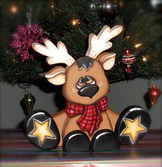 Cute reindeer shelf sitter handmade woodcraft, made to order