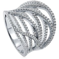 BERRICLE Rhodium Plated Sterling Silver Cubic Zirconia CZ Woven Right... ($65) ❤ liked on Polyvore featuring jewelry, rings, holiday jewelry, statement rings, rhodium plated sterling silver rings, sterling silver cz rings and braided sterling silver ring