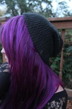 This dark and lovely colour was achieved by applying Purple Haze on unbleached hair. <<-
