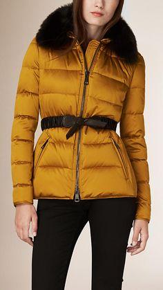 Gold oxide Down-filled Jacket with Fur Trim - Image 1