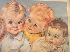 "Vintage Framed Print ""57"" Babies by Fangel 1941."