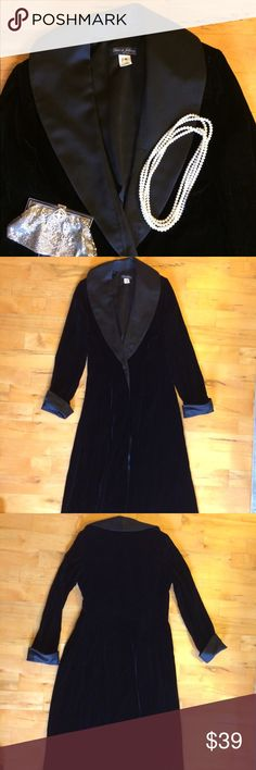 "🆕 Listing: ✨Vintage Black Evening Coat, stunning! Dave and Johnny by Laura Ryner, size M. Excellent condition, measures 18"" armpit to armpit, 15"" waist and 56 1/2"" length. Velvet feel with satiny sheen collar and cuffs. Collar and cuffs acetate and nylon, body of the Coat is poly. The hook from the hook and eye clasp will need to be replaced, other than that this coat is perfect. Worn on NYE once. Dave and Johnny Jackets & Coats"