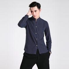 Hot Sale Navy Blue Men's Long Sleeve Shirt Chinese Male Cotton Linen Kung Fu Shirt Wushu Clothing Tops S M L XL XXL XXXL 2605