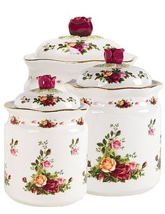Royal Doulton Royal Albert Old Country Roses Canisters,