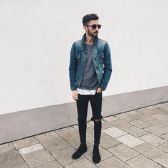 Christoph Schaller - Levis Jacket, Acne Jeans, Saint Laurent Sunglasses, Clarks Shoes - MAN ON THE MOON