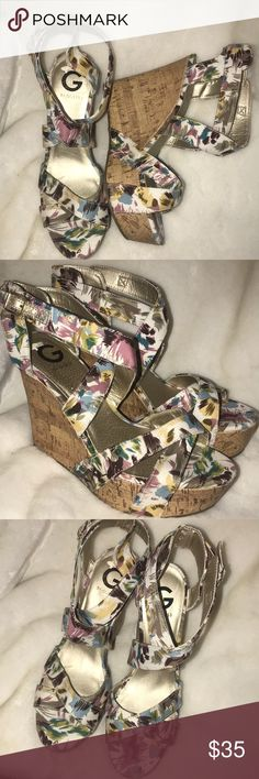 """🆕Abstract floral strappy cork wedges Super pretty strappy floral cork wedges. ❗️Please no low ball offers.❗️ ❗️Bundles always get a discount.❗️ Condition: NWOT Measurements- Heel height: 5"""" Platform: 2"""" Smoke free home but I have a small dog.  Thanks for checking out my closet! ❤️ G by Guess Shoes Wedges"""