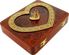Wooden Continuous Cribbage Board Heart Shape 3 Tracks Bloodwood Maple