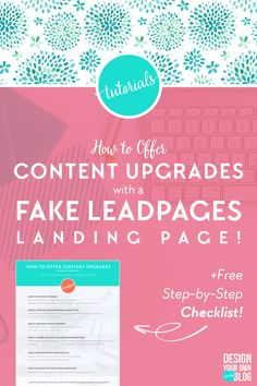 Can't afford LeadPages? How to offer content upgrades with a FAKE LeadPages landing page with popup opt-in and thank you landing page using ConvertKit and a free WordPress plugin! Check out the full tutorial and download your free checklist at www.DesignYourOwnBlog.com/fakeleadpages! landing page landing pages