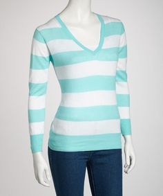 Take a look at this Mint Stripe V-Neck Sweater by Buy in America on #zulily today!