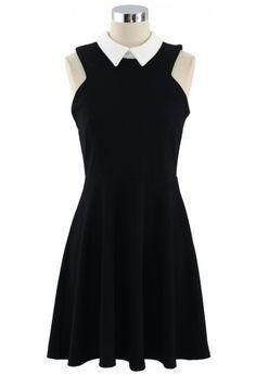 Contrast Collar Little Black Dress