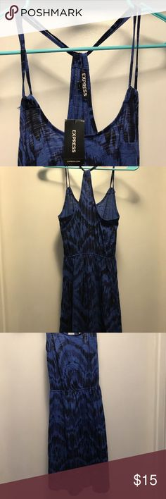 Express Dress spaghetti Strap Size XS Express Dress Blue and black spaghetti Strap Elastic Waist Size XS NWT Excellent Condition Express Dresses