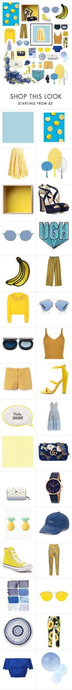 """""""💙 & 💛"""" by sunshineirwinx ❤ liked on Polyvore featuring Thierry Colson, Muuto, Jimmy Choo, Anya Hindmarch, Kipling, Miu Miu, Christian Dior, WearAll, Lacoste and Shoe Republic LA"""