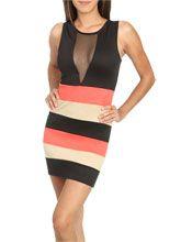 Mesh Colorblock Tunic Dress
