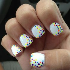 Dotted neon nail art!