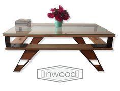 mesa ratona diseño industrial vintage vidrio living estar