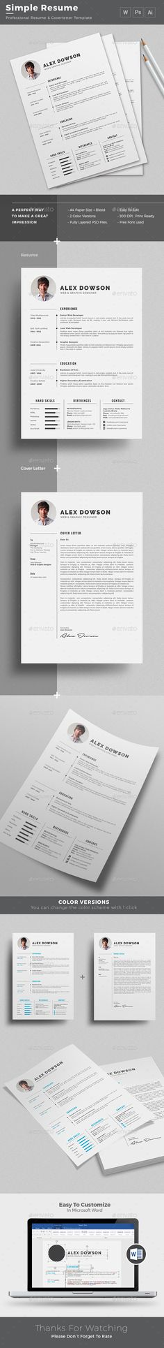 Simple Resume + Free cover letter template | Instant Download http://graphicriver.net/item/resume/16345993?ref=themedevisers