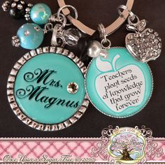Teacher Gift Personalized Necklace (or Key chain), Inspirational Quote, Thank You Gift, Teacher Appreciation, Rhinestone Apple Charm, Damask. $23.50, via Etsy.