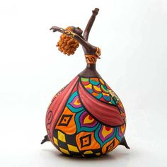 Gourd art by Christy Barajas, an avid user of Fine Tip App Paper Mache Clay, Paper Mache Crafts, Clay Crafts, Clay Art, Clay Clay, Paper Clay, Bottle Painting, Bottle Art, Bottle Crafts