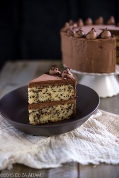 must try; super rich buttermilk cake (made with a lot of butter and extra egg yolks) loaded with chocolate sprinkles; covered in a must try whipped semisweet ganache cream american buttercream