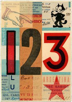Julia Trigg - El Gato (collage) - via shelleysdavies.com #numbers #star
