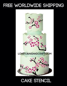 cherryblossomstencil blossomstencil flowerstencil floralstencil cakestencil CHERRY BLOSSOM STENCIL BLOSSOM STENCIL FLOWER STENCIL FLORAL STENCIL 4 Cake Topper Tutorial, Fondant Tutorial, Cake Stencil, Stencils, Cherry Blossom Cake, Themed Birthday Cakes, 16th Birthday, Fondant Tools, Cookie Icing
