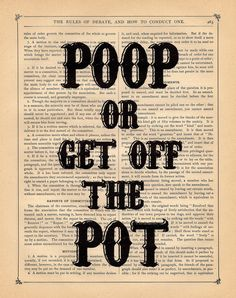 Poop Or Get Off The Pot. This cracks me up! Heard Mamaw Irene say it on Hatfields & McCoys: White Lightning!