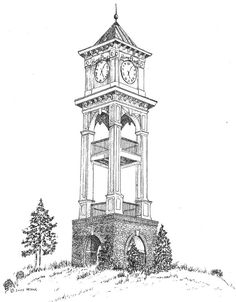 Home Place Clock Tower Drawing