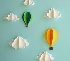 Hot Air Balloon Wall Decal, Paper Wall Art, Wall Decor, Wall Art by goshandgolly on Etsy Paper Wall Art, 3d Wall Art, 3d Paper, Balloon Wall, Air Balloon, Balloon Clouds, Balloon Party, Art Mural 3d, Art 3d
