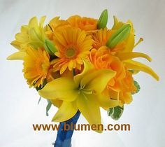 Bridesmaid bouquet of yellow Asiatic lilies, gerbera daisies and roses with royal blue ribbon stem wrap; Blumengarten Florist, Pittsburgh, PA; www.blumen.com