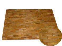 Badematte Saunamatte Holz Badteppich Bambus Holzmatte Badvorleger Teak 60 x 90 cm braun Typ G