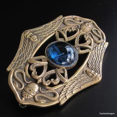 Antique Art Nouveau Egyptian Revival Brooch with Women / Scarab / Serpents