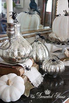 Halloween Decorating In Black White With Mercury Glass Mercury