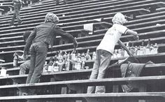 Kids cleaning up Autzen Stadium after a football game in 1975. From the 1976 Oregana (University of Oregon yearbook). www.CampusAttic.com