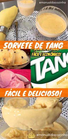 Receita de Sorvete feito com suco em pó (tang), super refrescante e gostoso! Você vai se surpreender com a facilidade e o sabor incrível! #receita #sorvete #verão #calor #gelado #delicia #sobremesa #doces #icecream #helado #aguanaboca #manualdacozinha
