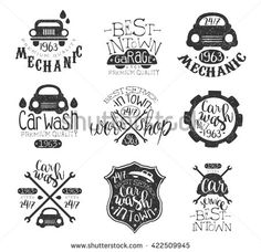 Similar Images, Stock Photos & Vectors of Vector set of vintage sketched garage logos. Retro car repair, auto service icons, signs collection for advertising posters, cards etc. Garage Logo, Auto Service, Pattern Images, Vintage Stamps, Retro Cars, Stamp Collecting, Car Wash, Car Detailing, Cool Patterns