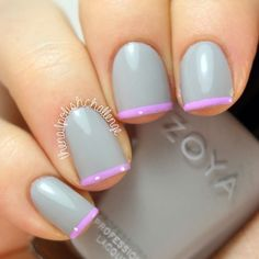 Nails. Fashion. Nail Art. Nails Art. Nail Polish. Nail Design. Style. Gray, pink, Zoya.  Instagram photo by @thenailpolishchallenge