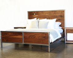 Modern Walnut and Steel Bench by foundpurpose on Etsy
