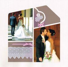 Scrap à Chambé: Le baiser des mariés Mosaic Wedding, Wedding Scrapbook Pages, Card Sketches, Marie, Layout, Wedding Dresses, 2 Photos, Inspiration, October