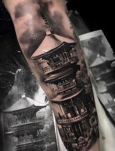 Made by Chico Morbene Tattoo Artists in Sao Paulo, Brazil Region Japanese Temple Tattoo, Japanese Tattoo Art, Japanese Tattoo Designs, Japanese Sleeve Tattoos, Life Tattoos, Tattoos For Guys, Cool Tattoos, Castle Tattoo, Buddha Tattoos