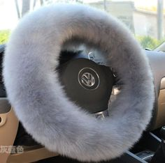 Gray-Blue Soft Pure Australian Wool Fuzzy Car Steering Wheel Cover Plush
