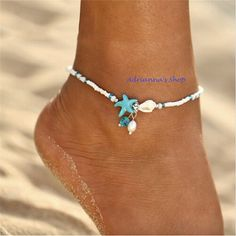 Buy Fashion Bohemian Blue Starfish Sea Shell Pearl Anklet Bracelet Charm Sandal Statement Summer Foot Chain Handmade Anklets for Women Beach Jewelry at Wish - Shopping Made Fun Shell Jewelry, Beach Jewelry, Boho Jewelry, Women Jewelry, Jewelry Ideas, Beaded Foot Jewelry, Jewelry Case, Jewelry Patterns, Gold Jewellery