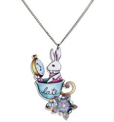 alice in wonderland tattoos | Late Rabbit Wonderland Tattoo Necklace From Punky Pins ...