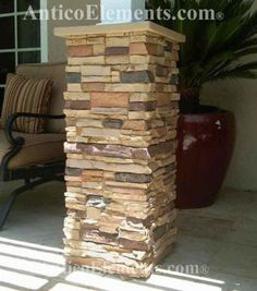 Antico Elements' Faux Stone Columns, also called Post Wraps and Column wraps, can quickly and dramatically enhance the look of your patio and backyard. These posts are easy to install and wrap around existing wood or metal posts. Stone Columns, Stone Panels, Stone Deck, Porch Post Wraps, Front Porch Columns, Brick Paver Patio, Driveway Pavers, Brick Fence, Stone Porches
