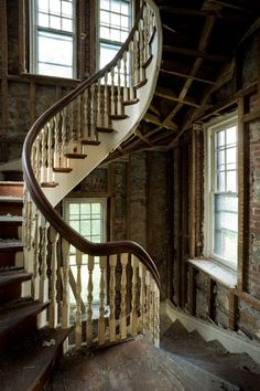 beautiful abandoned staircases | Beautiful spiral staircase in an abandoned monastery in New York.