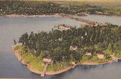 Lake Hamilton, Hot Springs, Arkansas, vintage air view, Highway 7 bridge, Lakeview court in foreground
