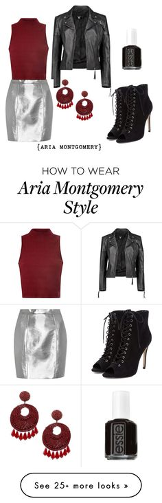 """""""Aria Montgomery"""" by justanideafromme on Polyvore featuring Boohoo, Yves Saint Laurent, Glamorous, Kenneth Jay Lane and Essie"""