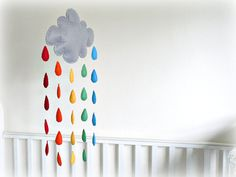 Rainbow rain cloud nursery mobile  Grey cloud by LullabyMobiles, $102.00